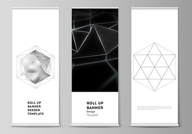 La disposition vectorielle de la bannière enroulée se dresse des drapeaux de flyers verticaux conçoivent des modèles commerciaux d polygone...