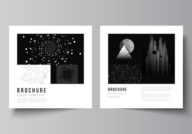Disposition vectorielle de deux modèles de conception de couvertures carrées pour brochure, dépliant, magazine, conception de couverture, conception de livre. fond de technologie de couleur noire. visualisation numérique de la science, de la médecine, du concept technologique