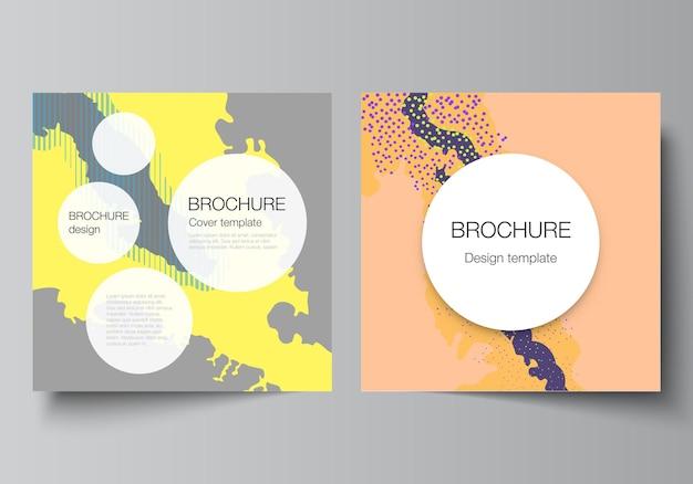 Disposition vectorielle de deux modèles de conception de couvertures carrées pour brochure flyer magazine couverture design livre conception brochure couverture modèle japonais modèle paysage décoration de fond dans un style asiatique