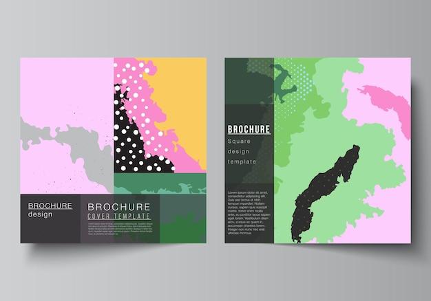 Disposition vectorielle de deux modèles de conception de couvertures carrées pour le livre de conception de couverture de magazine dépliant...