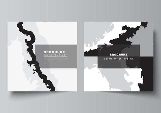 Disposition vectorielle de deux modèles de conception de couvertures de format carré pour brochure, dépliant, magazine, conception de couverture, conception de livre, couverture de brochure. décoration de fond de paysage, texture grunge motif demi-teinte.