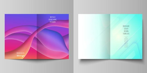 Disposition vectorielle de deux modèles de conception de maquettes de couverture a4 pour brochure à deux volets, dépliant