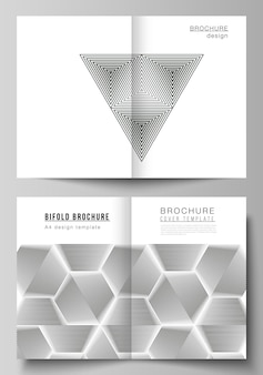 Disposition vectorielle de deux modèles de conception de maquettes de couverture modernes au format pour la mouche du magazine à deux volets...