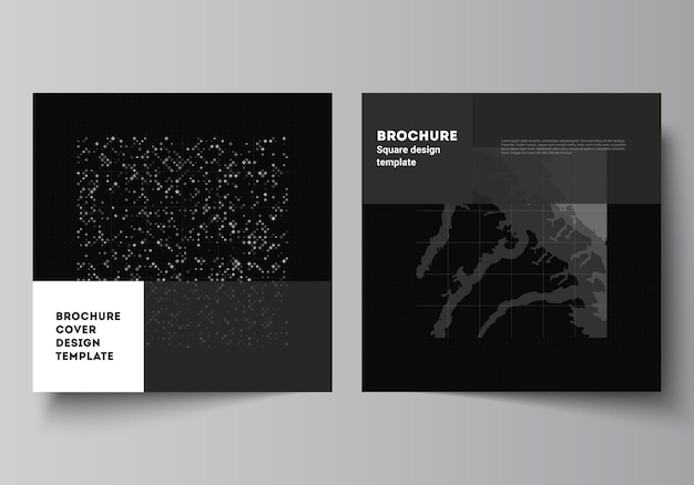 Disposition vectorielle de deux modèles de couvertures carrées pour brochure, dépliant, conception de couverture, conception de livre, couverture de brochure. fond de science de couleur noire de technologie abstraite. données numériques. concept de haute technologie.