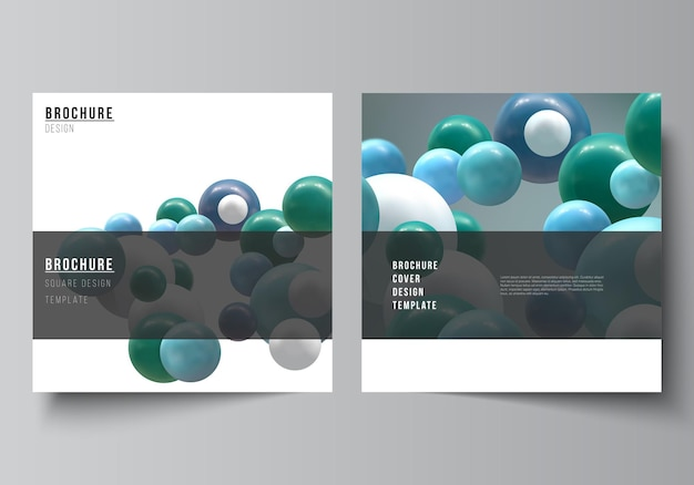 Disposition vectorielle de deux modèles de couvertures carrées pour brochure flyer couverture design livre conception brochure couverture abstraite vecteur futuriste fond avec des boules de bulles brillantes colorées d sphères