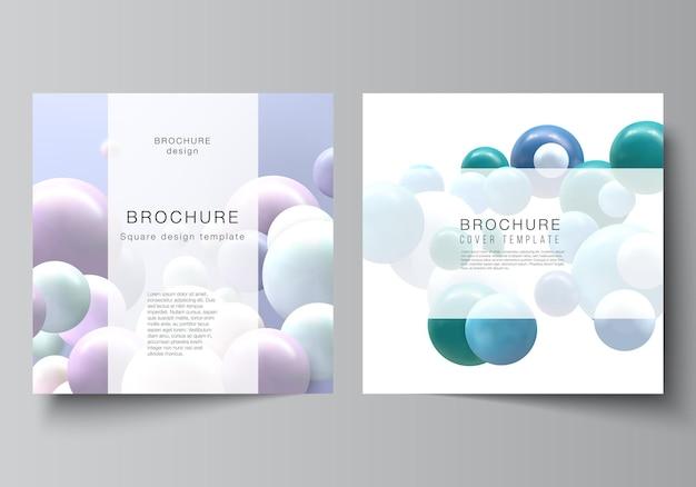 Disposition vectorielle de deux modèles de couvertures de format carré pour brochure flyer magazine couverture design livre conception brochure couverture fond vectoriel réaliste avec des boules de bulles multicolores d sphères