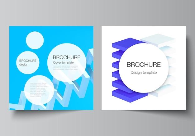 Disposition vectorielle de deux modèles de couvertures de format carré pour la conception de la couverture du dépliant de brochure ...
