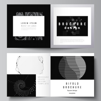 Disposition vectorielle de deux modèles de couvertures pour brochure carrée à deux volets dépliant couverture conception de livre conception de brochure couverture technologie abstraite couleur noire science fond visualisation de données numériques