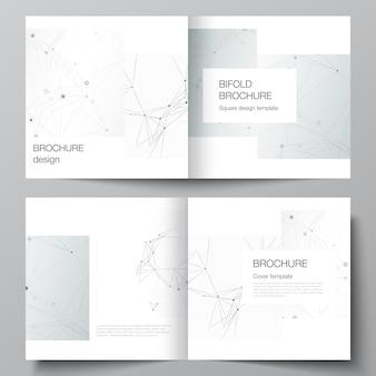 Disposition vectorielle de deux modèles de couvertures pour brochure carrée à deux volets, dépliant, magazine, conception de couverture, conception de livre, couverture de brochure. arrière-plan technologique gris avec lignes et points de connexion. notion de réseau