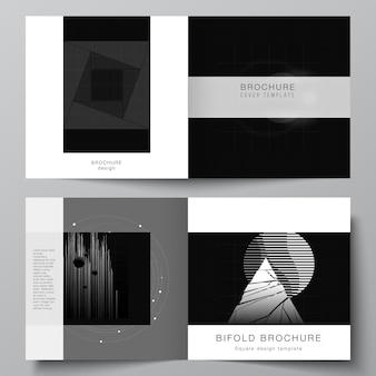 Disposition vectorielle de deux modèles de couvertures pour brochure à deux volets de conception carrée, flyer, conception de couverture, conception de livre. fond de technologie de couleur noire. visualisation numérique de la science, de la médecine, du concept technologique.