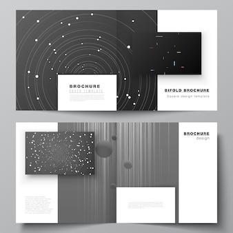 Disposition vectorielle de deux modèles de couvertures pour la conception de couverture de magazine à deux volets brochure dépliante design carré ...