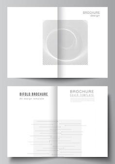 Disposition vectorielle de deux modèles de maquettes de couverture a4 pour brochure à deux volets, dépliant, conception de couverture, conception de livre. fond de science de couleur noire de technologie abstraite. données numériques. concept de haute technologie minimaliste.