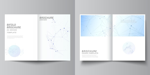 Disposition vectorielle de deux modèles de maquettes de couverture au format a4 pour brochure à deux volets, dépliant, magazine, conception de couverture, conception de livre, couverture de brochure. formation médicale bleue avec lignes et points de connexion, plexus.