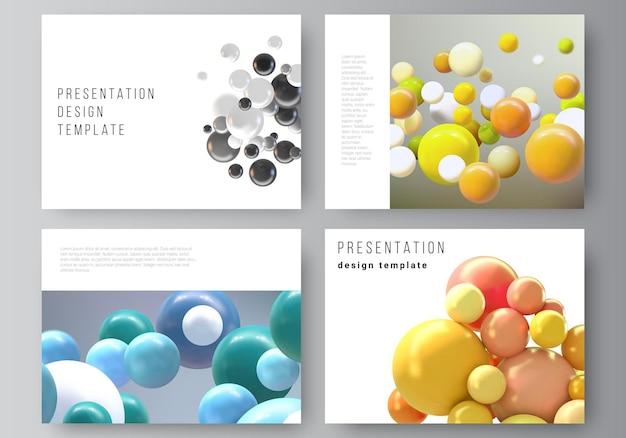 Disposition vectorielle des diapositives de présentation modèles d'entreprise de conception modèle polyvalent pour la brochure de présentation rapport fond vectoriel réaliste avec des boules de bulles de sphères d multicolores
