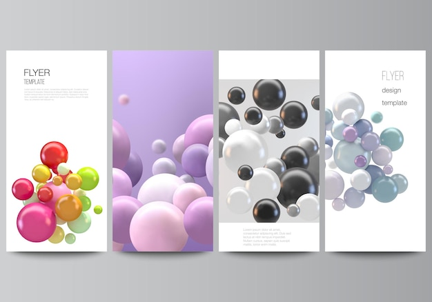 Disposition vectorielle de flyer, modèles de bannière pour la conception de publicité de site web, conception de flyer vertical, décoration de site web. abstrait futuriste avec des sphères 3d colorées, des bulles brillantes, des boules.