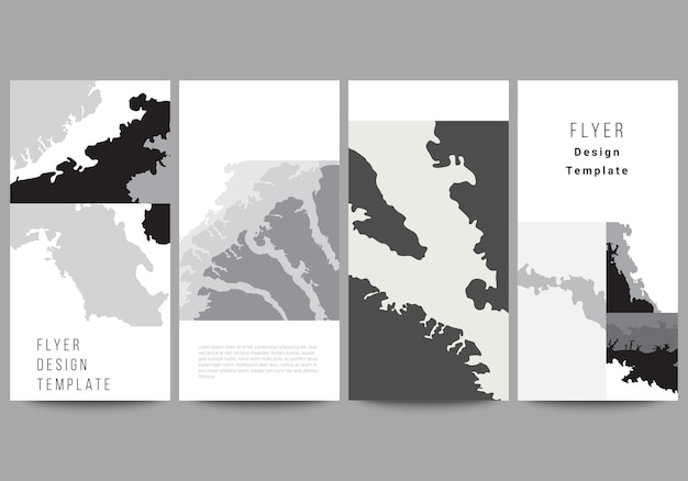 Disposition vectorielle des modèles de conception de bannière de flyer pour la conception de site web publicitaire conception de flyer vertical arrière-plans de décoration de site web décoration de fond de paysage motif de demi-teintes texture grunge