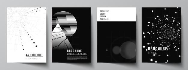 Disposition vectorielle des modèles de conception de couverture a4 pour brochure, mise en page de dépliant, brochure, conception de couverture, conception de livre. fond de technologie de couleur noire. visualisation numérique de la science, de la médecine, du concept technologique.
