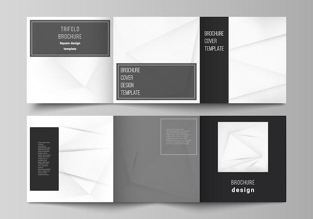 Disposition vectorielle des modèles de conception de couverture carrée pour le livre de conception de couverture de magazine à trois volets...