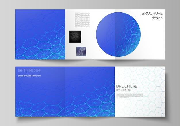 Disposition vectorielle de modèles de conception de couvertures carrées pour brochure à trois volets.