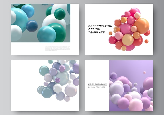 Disposition vectorielle des modèles de conception de diapositives de présentation, modèle polyvalent pour brochure de présentation, rapport d'activité.