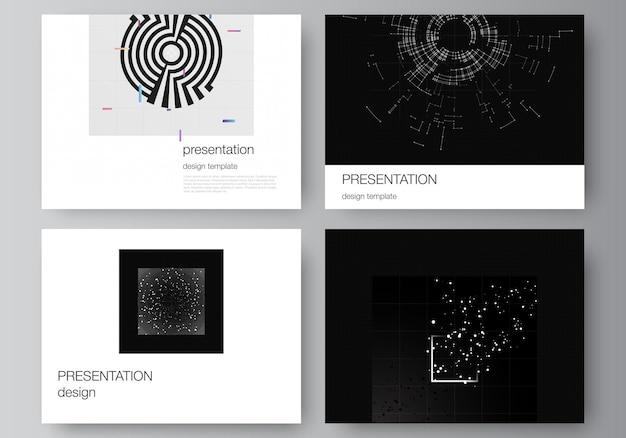 Disposition vectorielle des modèles de conception de diapositives de présentation pour la couverture de brochure de brochure de présentation b ...