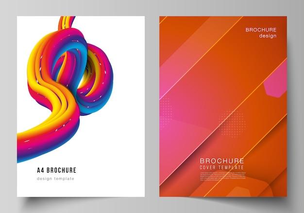 Disposition vectorielle de modèles de conception de maquettes de couverture moderne au format a4 pour brochure. conception technologique futuriste