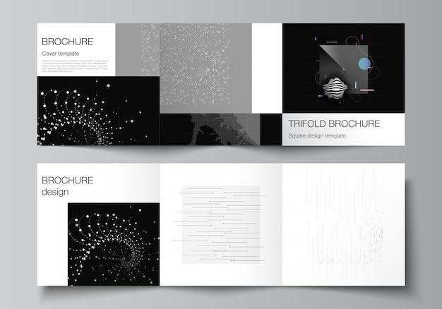 Disposition vectorielle des modèles de couvertures carrées pour la conception de livre de conception de couverture de magazine à trois volets.