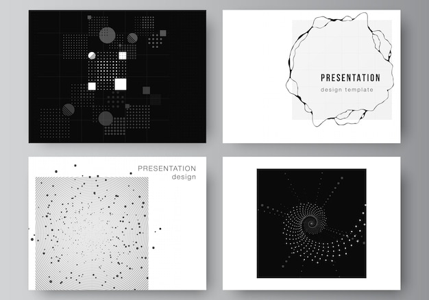 Disposition vectorielle des modèles d'entreprise de conception de diapositives de présentation, modèle de brochure de présentation, couverture de brochure, rapport. fond de science de couleur noire de technologie abstraite. concept de haute technologie.