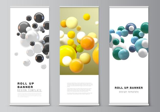 Disposition vectorielle de modèles de maquette de roll up pour flyers verticaux, modèles de conception de drapeaux