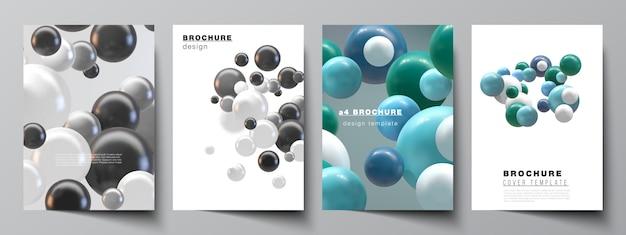 Disposition vectorielle de modèles de maquettes de couverture a4 pour brochure
