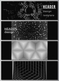Disposition vectorielle des en-têtes, modèles de bannières pour la conception de pied de page de site web, conception de flyer horizontal, en-tête de site web. fond de technologie de couleur noire. visualisation numérique de la science, de la médecine, du concept technologique