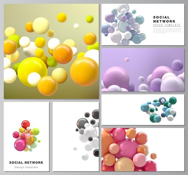 Dispositions du réseau social moderne. sphères 3d futuristes abstraites, bulles brillantes, boules.