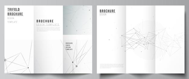 Dispositions vectorielles des modèles de couvertures pour brochure à trois volets, mise en page de flyer, conception de livre, couverture de brochure, maquettes publicitaires. arrière-plan technologique gris avec lignes et points de connexion. notion de réseau.