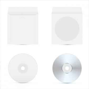 Disque cd maquette. conception d'emballage réaliste.