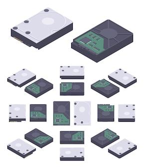 Disque dur plat isométrique, disque dur