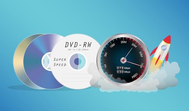 Disque dvd avec compteur de vitesse