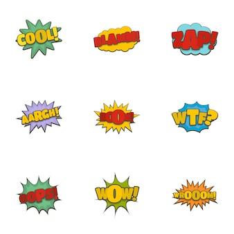 Disque étiquette icônes définies, style de bande dessinée