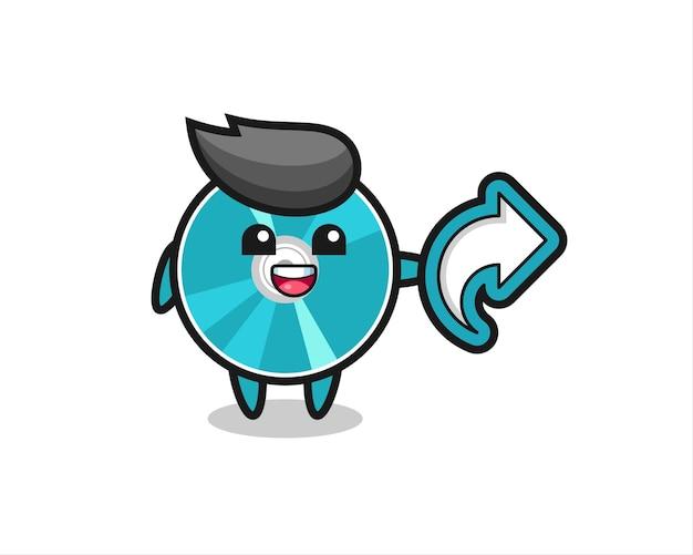 Un disque optique mignon contient un symbole de partage de médias sociaux, un design de style mignon pour un t-shirt, un autocollant, un élément de logo