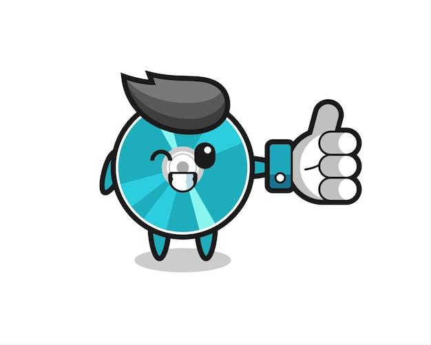 Disque optique mignon avec symbole de pouce levé sur les médias sociaux, design de style mignon pour t-shirt, autocollant, élément de logo