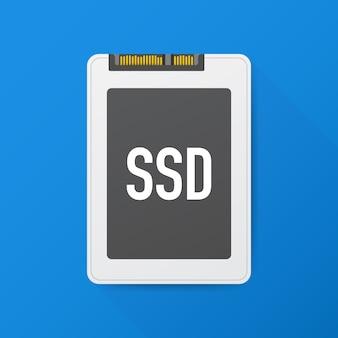 Disque ssd, polygone ssd, périphérique informatique, disque dur. illustration vectorielle