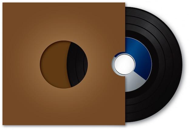 Disque vinyle et couvercle marron