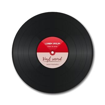 Disque vinyle avec étiquette rouge. vinyle isolé sur blanc. ancienne technologie. design rétro réaliste.