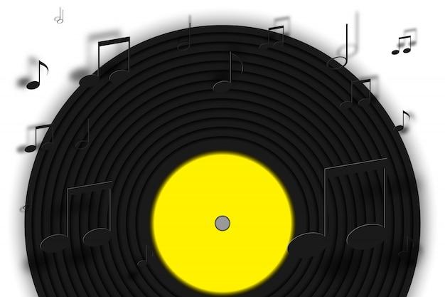 Disque vinyle avec fond de note de musique en papier