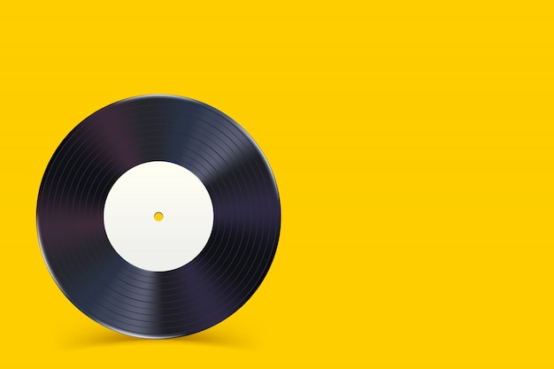 Disque vinyle sur jaune 1