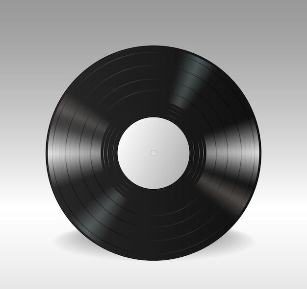Disque vinyle lp gramophone avec étiquette blanche vide. disque d'album musical de longue durée noir isolé sur fond blanc. illustration vectorielle réaliste 3d