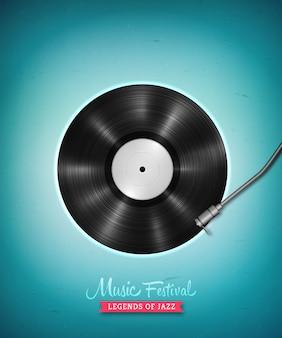 Disque vinyle lp longue durée réaliste. disque de vinyle vinyl vintage vector