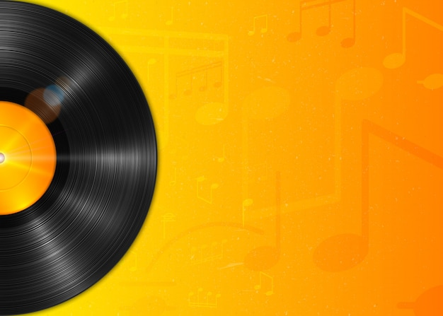 Disque vinyle lp longue écoute réaliste avec label jaune. disque vinyle vintage, fond avec notes.