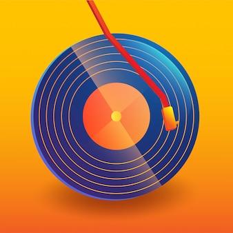 Disque vinyle musique abstraite avec fond dégradé