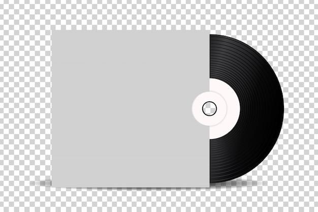 Disque vinyle rétro réaliste pour la décoration et la couverture sur le fond transparent.
