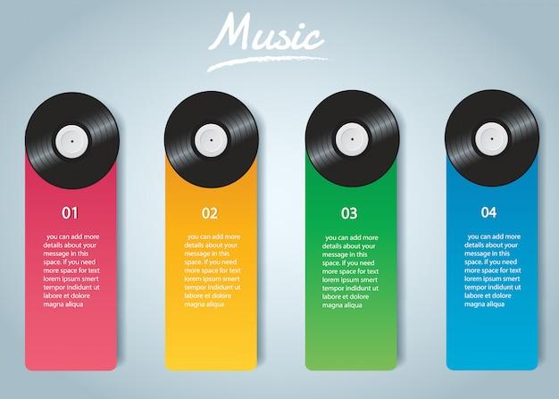 Disque vinyle avec vecteur d'infographie de la couverture